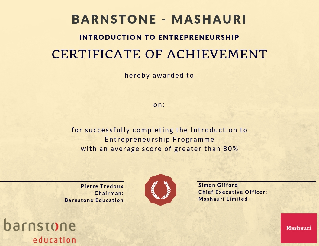Barnstone Education Certificate
